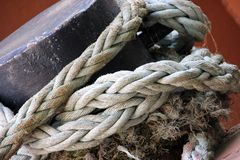 Old Frayed Shipping Rope Stock Photo