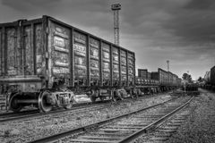 Old Freight Carriages In Black And White Colors Stock Photos