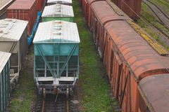 Old Freight Rail Cars Are On The Track At The Railway Stock Images