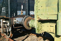 Old freight train coupling bumpers Stock Photos