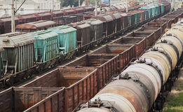 Old freight trains. Staying on the station Stock Images