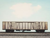 Old freight trian with cargo container. In vintage style Stock Photo