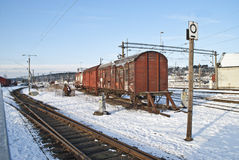 Old freight wagons. Old and discarded freight wagons transported at Halden railway station Stock Images