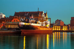 Old freighter at night Royalty Free Stock Photo