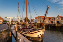 Old freightship with drawbridge. Historical freightship in the harbor of Zierikzee, south holland Royalty Free Stock Photos
