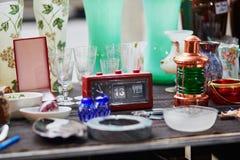 Old French alarm clock on flea market in Paris Royalty Free Stock Photos