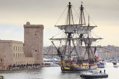 French battle ship, l`Hermione. In the old harbor of Marseille, France. Old French battle ship, l`Hermione. In the old harbor of Marseille, France stock photos