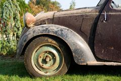 Old french car. Very Old french car left out in the cold Stock Image