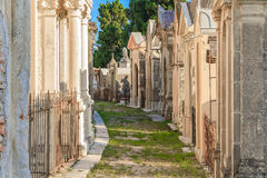 Old french cemetery in the town of Menton on the French Riviera Stock Photos