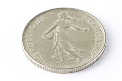 Old french coin. On white background Royalty Free Stock Image