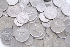 Old french coin Franc. Close up Royalty Free Stock Image