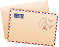 Old french envelope with Eiffel tour. And sign par avion Royalty Free Stock Image