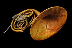 Old french horn Stock Image