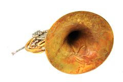Old french horn Royalty Free Stock Photos