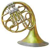 Old French Horn. Isolated on white with clipping path Royalty Free Stock Photo