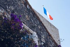 French flag in the Provence stock photo