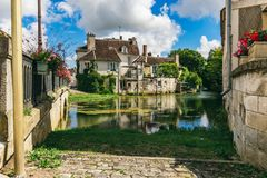 Old French house by the lake Royalty Free Stock Images