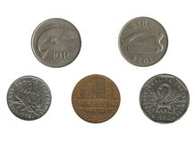 Old french and irish coins Royalty Free Stock Photos