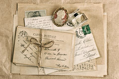 Old french postcards and accessories Royalty Free Stock Photo