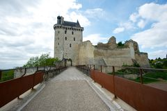 Old French royal fortress. Draw bridge towards Forteresse Royale de Chinon, France Stock Photos