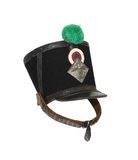 Old French Shako. Ancient French military shako with cockade and plume isolated on white background with clipping path Royalty Free Stock Image