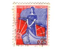 Old french stamp with lady Stock Images