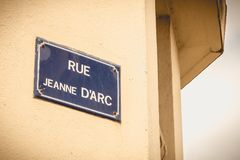 Old French street sign where it is written rue Jeanne d Arc. Old French street sign where it is written rue Jeanne d`Arc Royalty Free Stock Photo