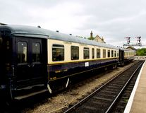 Nene Valley Railway. Old french train bleu rolling stock carriages at Wansford Station at Nene Valley railway Royalty Free Stock Image