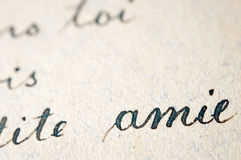 Old french writings Stock Photo