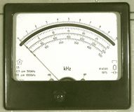 Old frequency meter. It is artificial old. It is specially processed in style of a retro of a photo Stock Photography