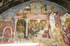 Old fresco detail at St. John's monastery, Patmos Royalty Free Stock Photo