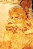 Old fresco with evil spirit image, Nanpaya temple, Bagan, Myanma Stock Images