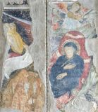 Old fresco painting in Saint Francis church in Mantua, Italy.  Stock Images