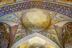 Old fresco in palace Chehel Sotoun. Iran royalty free stock images