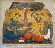Old fresco in palace Chehel Sotoun. Iran royalty free stock photo