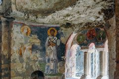 An Old fresco on the wall of St Nicholas church, Demre Stock Photography