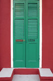 Old freshly painted doors in French Quarter near Bourbon Street in New Orleans, Louisiana Stock Photo