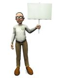 Old friendly man holding blank sign. Royalty Free Stock Photography