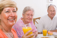 Old friends. Group of old friends having breakfast together Stock Image