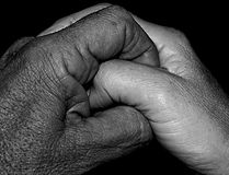 Old Friends. Black Man ,White woman Holding Hands stock photos