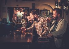 Old friends having fun and drinking draft beer at bar counter in pub. Cheerful old friends having fun and drinking draft beer at bar counter in pub Stock Image