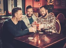 Old friends having fun and drinking draft beer in pub. Cheerful old friends having fun and drinking draft beer in pub Stock Image
