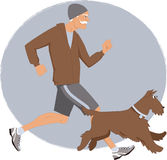Old friends running. Energetic senior man jogging with his Airedale terrier dog, vector illustration royalty free illustration