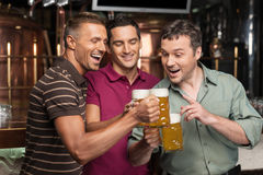 Old friends. Three happy friends drinking beer at the pub Stock Images