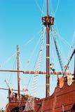 Old frigate. Ship foremast, cordage and sailor Stock Photo