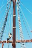 Old frigate. Ship foremast, cordage and sailor Royalty Free Stock Image