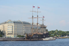 Old frigate near the waterfront in St.Petersburg. Royalty Free Stock Photos