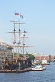 Old frigate near the waterfront in St.Petersburg. Royalty Free Stock Photo