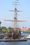 Old frigate near the waterfront in St.Petersburg. Stock Photo