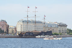 Old frigate near the waterfront in St.Petersburg. Royalty Free Stock Photography